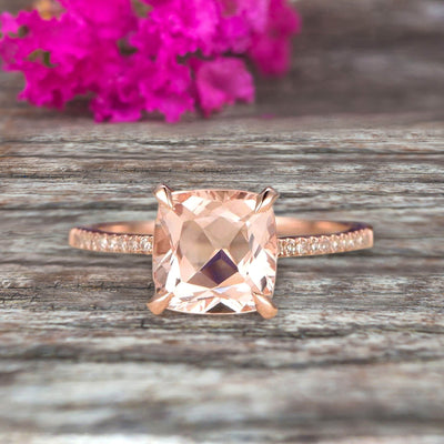 Cushion Cut 1.50 Carat Morganite Engagement Ring Rose Gold 10k Basket Design Claw Prong Art Deco