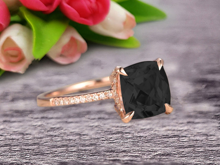 Cushion Cut 1.50 Carat Black Diamond Moissanite Engagement Ring Rose Gold 10k Basket Design Claw Prong Art Deco