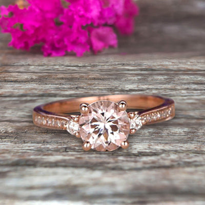 Morganite Engagement Ring With Solid 10k Rose Gold Promise Ring Round Cut 1.25 Carat Art Deco