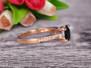 Black Diamond Moissanite Engagement Ring With Solid 10k Rose Gold Promise Ring Round Cut 1.25 Carat Art Deco