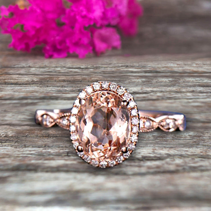 Oval Cut 1.50 Carat Morganite Engagement Ring Solid 10k Rose Gold Moissanite Halo Anniversary Ring