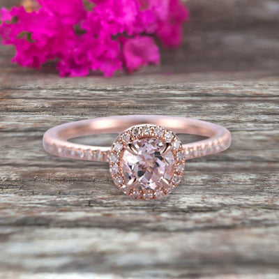 Round Cut Gem Stone Pink Morganite Engagement Ring On10k Rose Gold Wedding Ring Art Deco Personalized for Brides