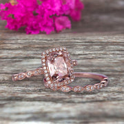 Bridal Set Cushion Cut Morganite Engagement Ring Set On 10k Rose Gold Art Deco Style Anniversary Gift