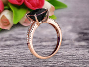 Cushion Cut 1.25 Carat Black Diamond Moissanite Engagement Ring Promise Ring 10k Rose Gold Stacking Band Art Deco Anniversary Gift
