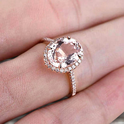 Oval Cut Pink Morganite Engagement Ring 1.50 Carat Solid 10k Rose Gold Wedding Ring Promise Ring for Bride Halo Design