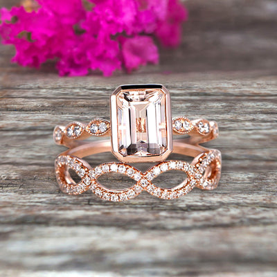Glaring 1.50 Carat Morganite Engagement Ring Solid 10k Rose Gold Promise Ring for bride loop curved Wedding Band Custom Made Sparkling Jewelry