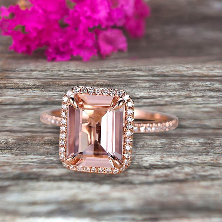 Flaming Emerald Cut 1.50 Carat Morganite Engagement Ring Wedding Ring Solid 10k Rose Gold Promise Ring Custom Made Sparkling Jewelry Halo Art Deco