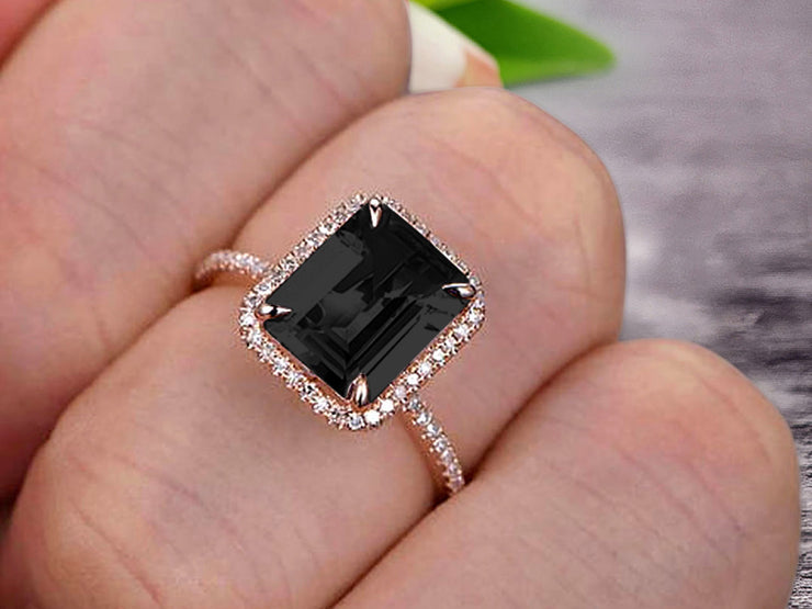 Flaming Emerald Cut 1.50 Carat Black Diamond Moissanite Engagement Ring Wedding Ring Solid 10k Rose Gold Promise Ring Custom Made Sparkling Jewelry Halo Art Deco