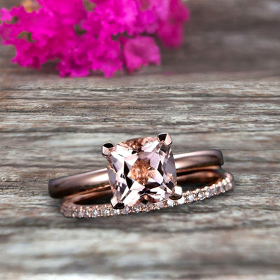 Shining Bridal Set Cushion Cut Gemstone 1.25 Carat Morganite Engagement Ring Set Handmade Solid 10k Rose Gold Art Deco