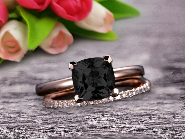 Shining Bridal Set Cushion Cut Gemstone 1.25 Carat Black Diamond Moissanite Engagement Ring Set Handmade Solid 10k Rose Gold Art Deco
