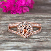 Unique Double Halo Design Round Cut 1.75 Carat Morganite Engagement Ring Promise Ring for Bride Aniversary Ring On 10k Rose Gold Custom Made Glaring Jewelry