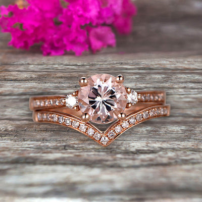 1.50 Carat Morganite Engagement Ring 10k Rose Gold Wedding Set Anniversary Ring Promise Ring Surprisingly Gift for her Curved V-Shape Matching Wedding Band