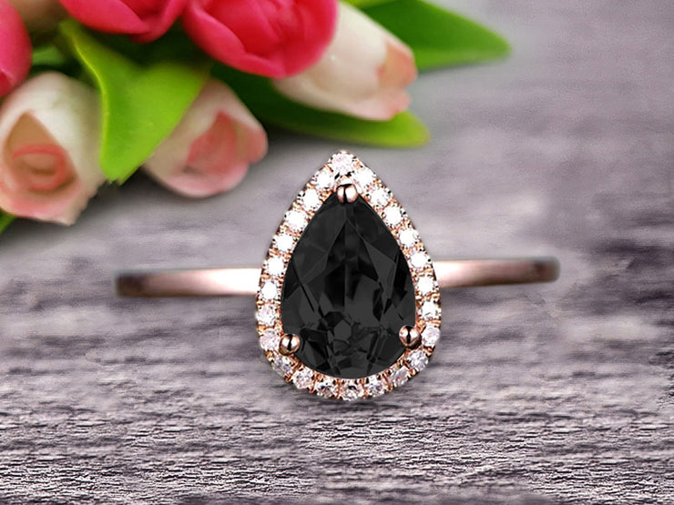 1.25 Carat Pear Shape Gemstone Pink Black Diamond Moissanite Engagement Ring Handmade Solid 10k Rose Gold Promise Ring Anniversary Ring Halo Surprisingly Ring