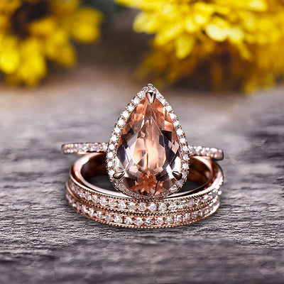 Milgrain Art Deco Trio Set 2 Carat Morganite Engagement Ring On 10k Rose Gold Pear Shape Gemstone Halo Ring With Matching Band Surprisingly Ring