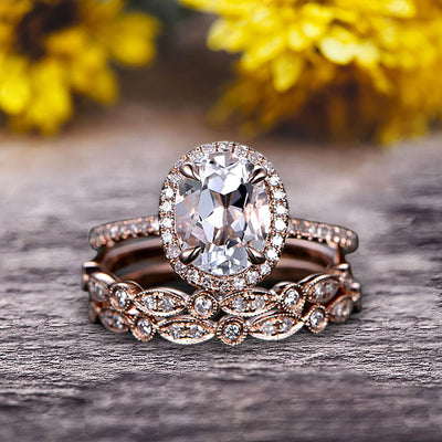 Milgrain Art Deco 2 Carat Morganite Engagement Ring 10k Rose Gold Oval Cut Gemstone Promise Ring Trio Set Glaring Staggering Ring