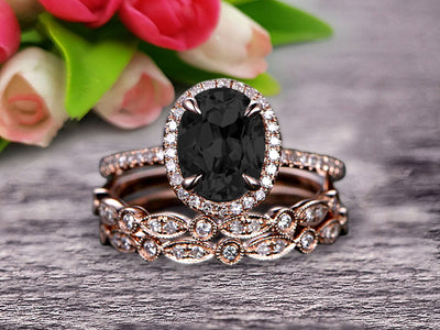 Milgrain Art Deco 2 Carat Black Diamond Moissanite Engagement Ring 10k Rose Gold Oval Cut Gemstone Promise Ring Trio Set Glaring Staggering Ring