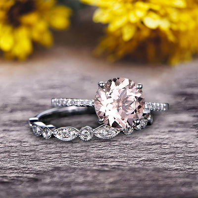 Glaring Staggering Ring 1.50 Carat Morganite Engagement Ring Solid 10k Rose Gold Round Cut Gemstone Promise Ring Bridal Ring Set