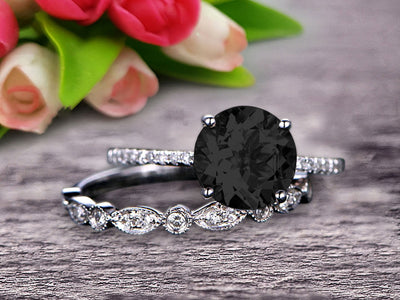 Glaring Staggering Ring 1.50 Carat Black Diamond Moissanite Engagement Ring Solid 10k Rose Gold Round Cut Gemstone Promise Ring Bridal Ring Set