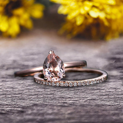 1.25 Carat Solitaire Pear Shape Morganite Engagement Ring With Matching Wedding Band On 10k Rose Gold Bridal Ring Set Surprisingly