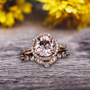 Milgrain Art Deco 2 Carat Round Cut Morganite Engagement Ring On 10k Rose Gold Promise Ring Bridal Ring Set Halo Anniversary Gift