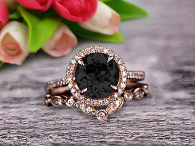 Milgrain Art Deco 2 Carat Round Cut Black Diamond Moissanite Engagement Ring On 10k Rose Gold Promise Ring Bridal Ring Set Halo Anniversary Gift