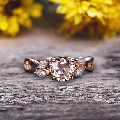 Surprisingly 1.25 Carat Round Cut Gemstone Morganite Engagement Ring On 10k Rose Gold Moissanite Ring Promise Ring for Bride Art Deco Anniversary Gift