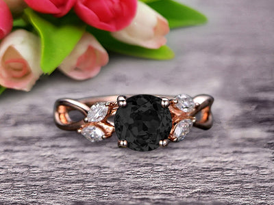 Surprisingly 1.25 Carat Round Cut Gemstone Black Diamond Moissanite Engagement Ring On 10k Rose Gold Black Diamond Moissanite Ring Promise Ring for Bride Art Deco Anniversary Gift