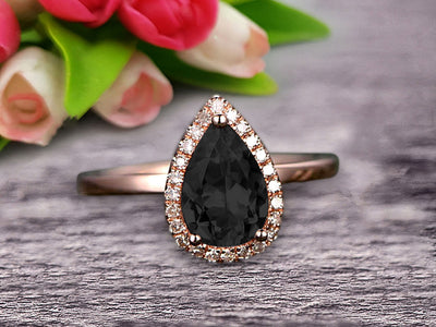 1.25 Carat Halo Pear Shape Black Diamond Moissanite Engagement Ring Handmade Solid 10k Rose Gold Ring Solitaire Stacking Band Anniversary Ring