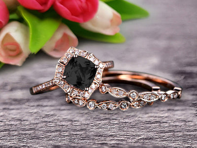 Black Diamond Moissanite Engagement Ring On Solid 14k Rose gold Cushion Cut 2 Carat Trio Set Anniversary Ring Vintage Looking Halo