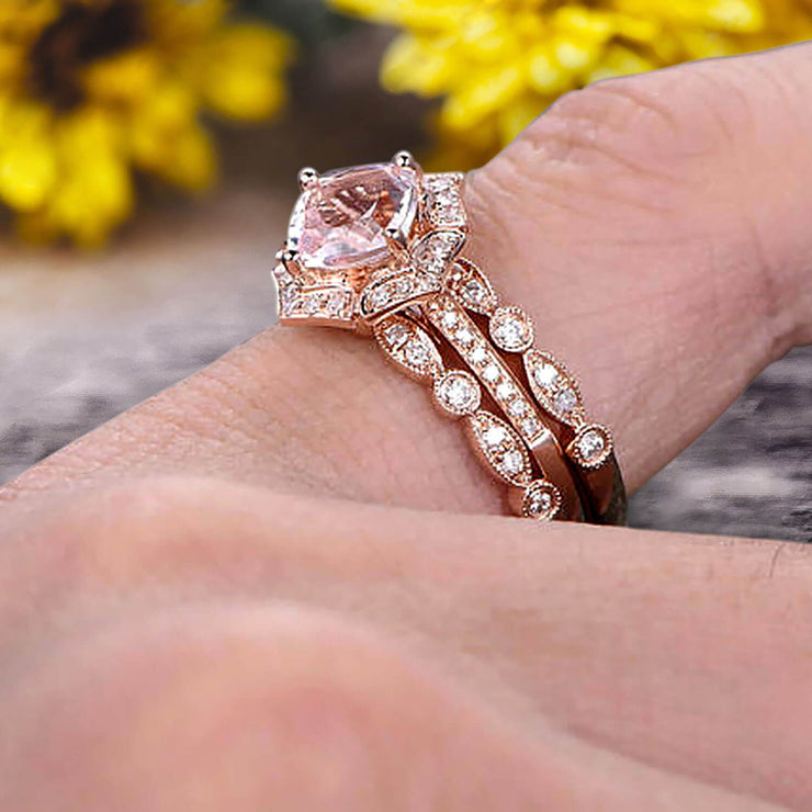 Morganite Engagement Ring On Solid 14k Rose gold Cushion Cut 2 Carat Trio Set Anniversary Ring Vintage Looking Halo