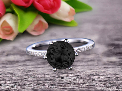 Round Black Diamond Moissanite 1.5 Carat Engagement Ring Solid 10k Rose Gold Wedding Ring basket underneath Halo Pink Gemstone Promise Ring for Bride