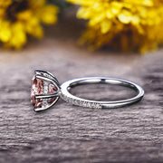 Round Morganite 1.5 Carat Engagement Ring Solid 10k Rose Gold Wedding Ring basket underneath Halo Pink Gemstone Promise Ring for Bride