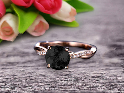 Shining 1.25 Carat Round Black Diamond Moissanite Engagement Ring Solid 10k Rose Gold Wedding Ring twisted Infinity style Pink Gemstone Promise Ring for Life Partner Anniversary Gift