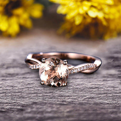 Shining 1.25 Carat Round Morganite Engagement Ring Solid 10k Rose Gold Wedding Ring twisted Infinity style Pink Gemstone Promise Ring for Life Partner Anniversary Gift