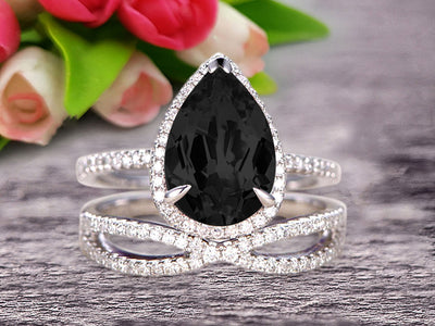 Bridal Set Tear Droped Black Diamond Moissanite Engagement Ring 1.75 Carat Pear Shape Gemstone Wedding Set Anniversary Ring On 10k White Gold Shining Jewelry With Matching Band