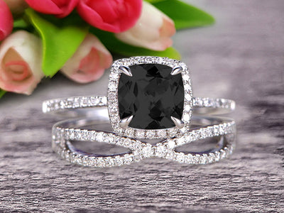 Bridal Set 1.75 Carat Cushion Black Diamond Moissanite Engagement Ring Set Wedding Ring Solid 10k White Gold Promise Ring for Bride Loop Curved Matching Band Halo Ring