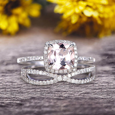 Bridal Set 1.75 Carat Cushion Morganite Engagement Ring Set Wedding Ring Solid 10k White Gold Promise Ring for Bride Loop Curved Matching Band Halo Ring