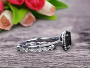 1.75 Carat Cushion Cut Vintage Looking Natural Black Diamond Moissanite Engagement Ring with Wedding Band on 10k White Gold
