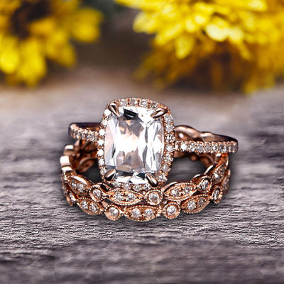 3Pcs Morganite 2 Carat Trio Ring Set Engagement Ring On Solid 10k Rose Gold Full Eternity Ring Art Deco Milgrain Promise Ring