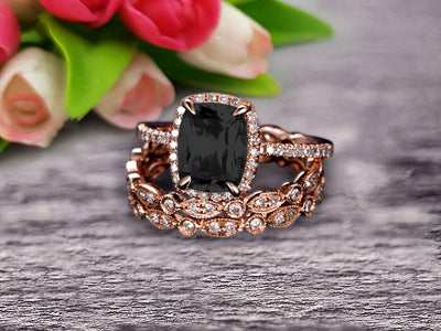 3Pcs Black Diamond Moissanite 2 Carat Trio Ring Set Engagement Ring On Solid 10k Rose Gold Full Eternity Ring Art Deco Milgrain Promise Ring