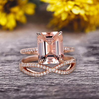 1.50 Carat Emerald Cut Pink Morganite Engagement Ring 10k Rose Gold Promise Ring for Bride or Anniversary Gift Startling Jewelry Twisted Across Matching Band
