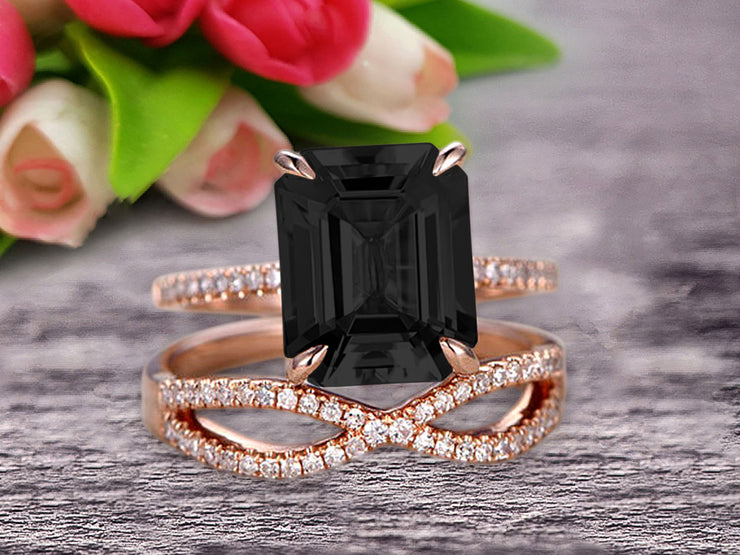 1.50 Carat Emerald Cut Pink Black Diamond Moissanite Engagement Ring 10k Rose Gold Promise Ring for Bride or Anniversary Gift Startling Jewelry Twisted Across Matching Band