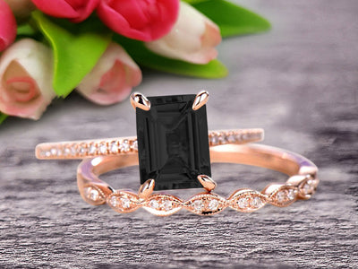 Emerald Cut 1.50 Carat Black Diamond Moissanite Engagement Ring On 10k Rose Gold Wedding Set Bridal Set Art Deco Gift For Her