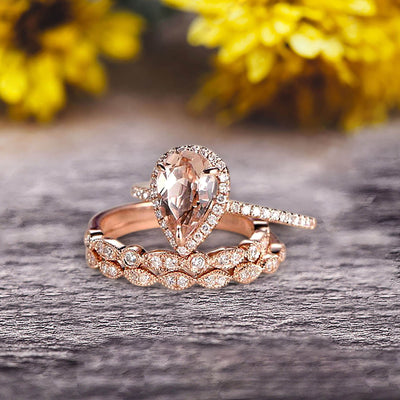 Milgrain Art Deco Pear Shape Morganite Engagement Ring Set 2 Carat Weight Trio Set Stacking Matching Wedding Band Solid 10k Rose Gold Anniversary Ring