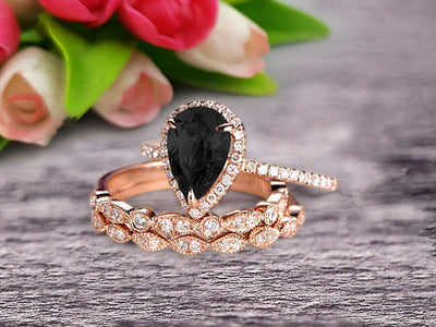 Milgrain Art Deco Pear Shape Black Diamond Moissanite Engagement Ring Set 2 Carat Weight Trio Set Stacking Matching Wedding Band Solid 10k Rose Gold Anniversary Ring