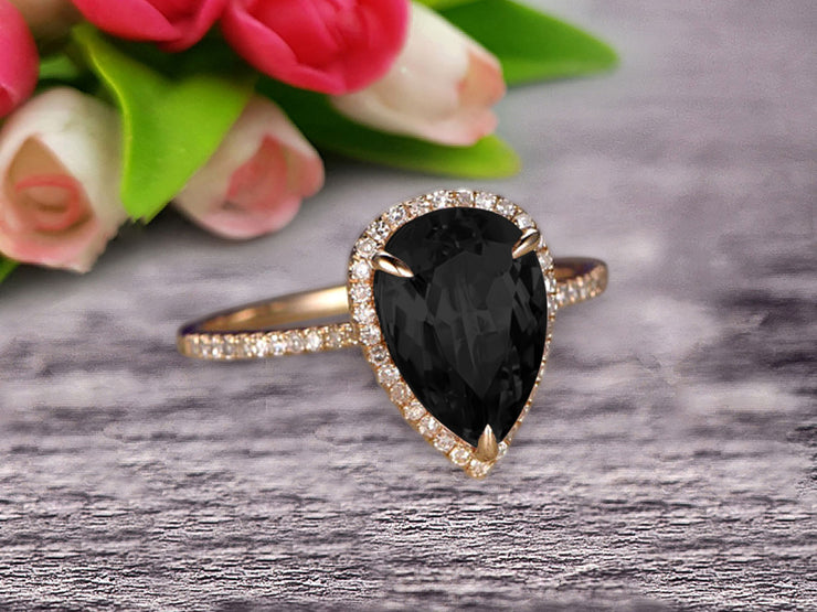 Surprisingly Ring 1.50 Carat Pear Shape Black Diamond Moissanite Engagement Ring Solid 10k Rose Gold Promise Ring Pave Set Vintage Look