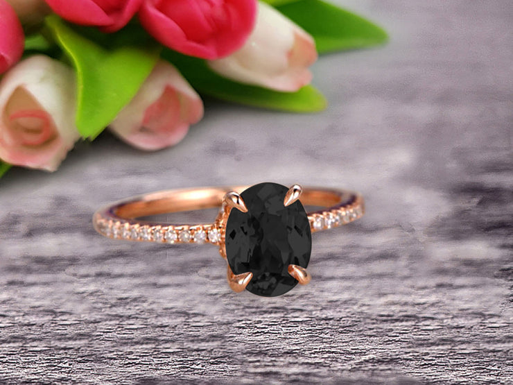 Vintage Looking Black Diamond Moissanite Engagement Ring On 10k Rose Gold 1.50 Carat Oval Cut Gemstone Custom Made Fine Jewelry Art Deco Anniversary Ring Bridal Ring