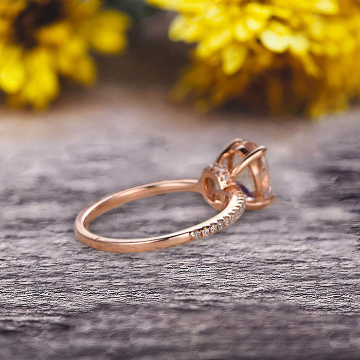 Vintage Looking Morganite Engagement Ring On 10k Rose Gold 1.50 Carat Oval Cut Gemstone Custom Made Fine Jewelry Art Deco Anniversary Ring Bridal Ring