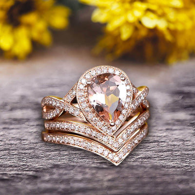 Milgrain 10k Rose Gold 2.25 Carat Morganite Engagement Ring Trio Set Wedding Ring Pear Shape Natural Pink Morganite Ring Curved V-Shape Stacking Matching Wedding Band Art Deco Halo Ring