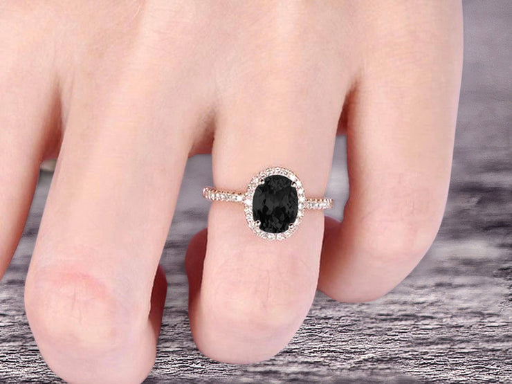 1.50 Carat Oval Cut Black Diamond Moissanite Halo Engagement Ring on 10k Rose Gold